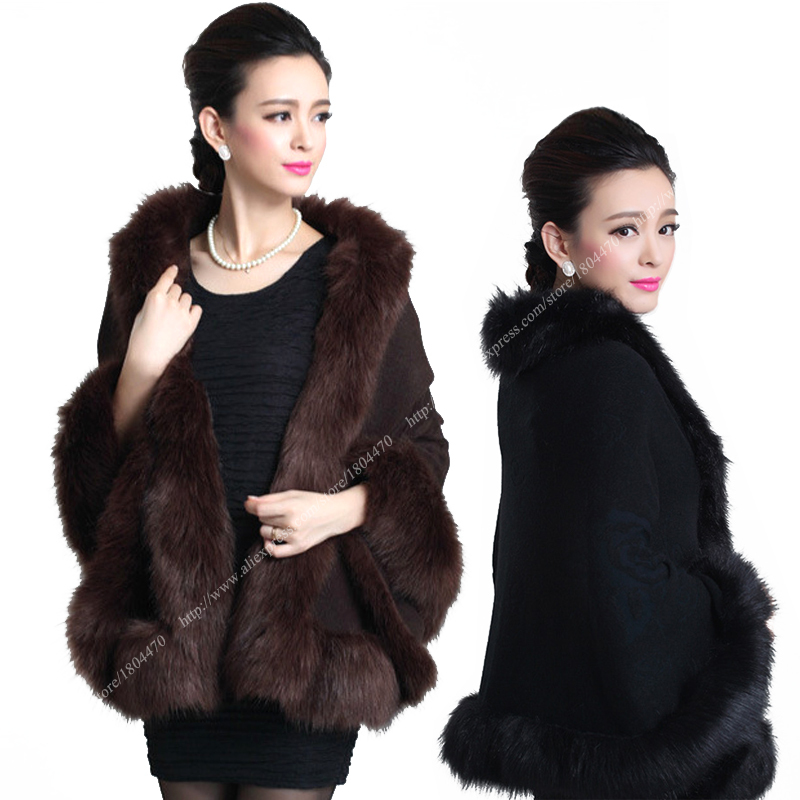 1346348d041 Buy Women Faux Fur Cape Winter Shawl Plus Size Women Cape Poncho Coat White  Black Brown Fox Collar Knit Cashmere Faux Fur Jackets in Cheap Price on ...