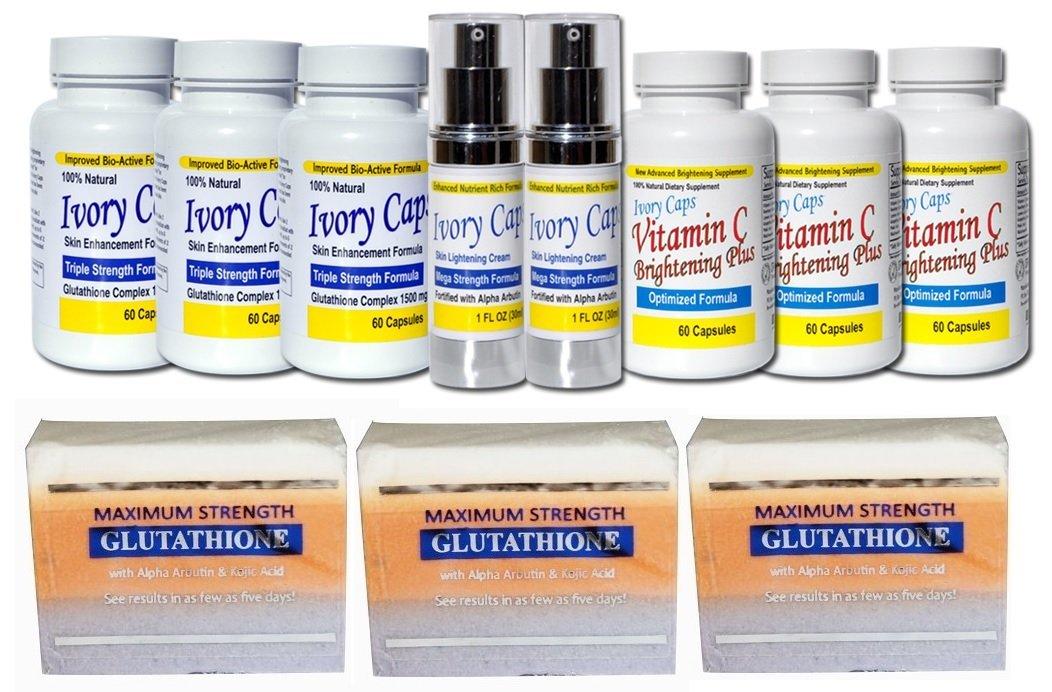 Glutathione System6 Skin Whitening Lightening Support System, 3-ivory Caps Skin Whitening Support Pills,2-ivory Caps Mega Strength Lightening Cream,3-ivory Caps Vitamin C Brightening Plus,3-premium Maximum Whitening/peeling Soap w/ Glutathione, Arbutin, and Kojic Acid