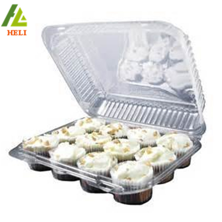 Factory supply clear clamshell plastic 12 Pak Cupcake Containers