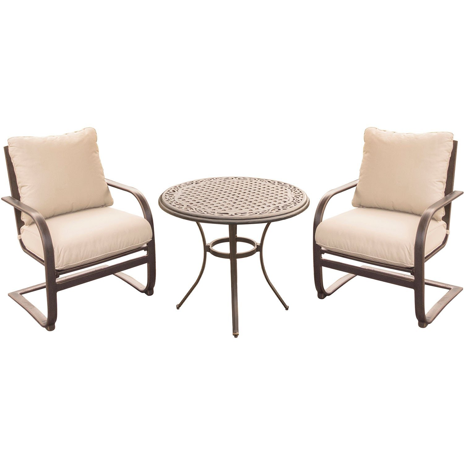 Summer Nights 3-Piece Chat Set in Tan with Two C-Spring Chairs and a 32 In. Cast-top Table