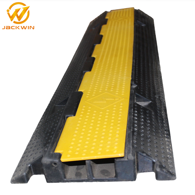 Yellow Jacket 2 Channel Electrical Wire Cable Protector/Rubber Kerb Ramps/Floor Cable Cover