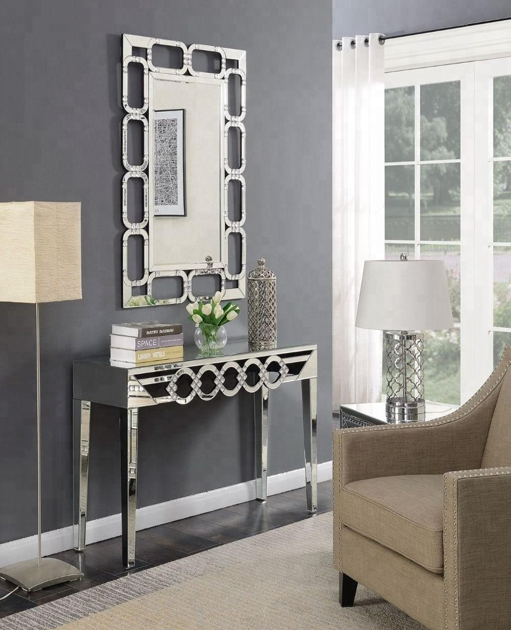 Modern Loughton Living Room Mirrored Furniture Console Table With Wall Mirror Buy Wall Mirror Luxury Console Table With Mirror Living Room Table With Mirror Product On Alibaba Com
