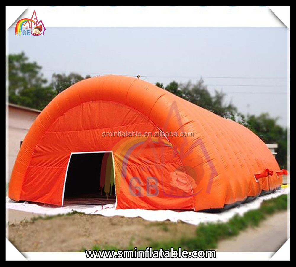 orange high quality inflatable build camping tent tunnel tent inflatable pvc tarpaulin tent