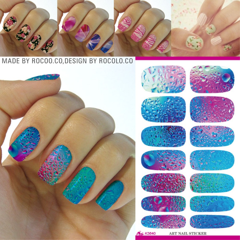 image about Printable Nail Decals identified as K5640 Design and style Nail Artwork Stickers Unknown Blue Ocean Drops