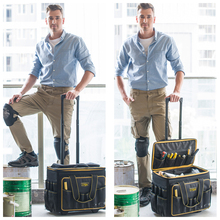 Multifunction heavy duty trolley tool bag with rolling wheels