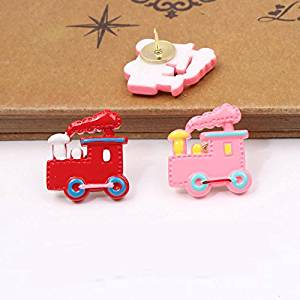Home & Office Cork Board Photo Wall Holding Paper or Decorative/Colorful Small train Series Pushpins/10 Piece/Random Color