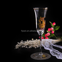 2017Wholesale Glassware handmade Champagne Flute Glass for Wedding, love glass flute, Golden rim and golden decal glass flute