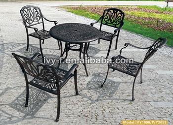 Antique Garden Set Cast Aluminum Garden Furniture/bronze Metal Dining Chair/outdoor  Metal Table