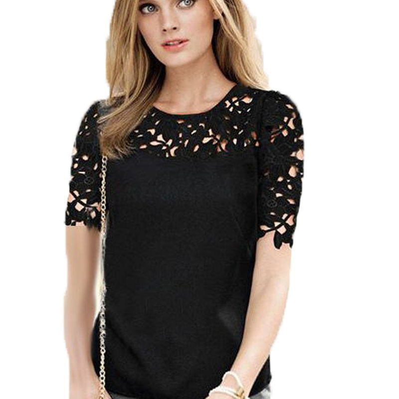 b1949d0ac59 Get Quotations · 2015 Sexy Summer Lace Blouse Camisa Feminina Ladies  Chiffon Shirt Hollow Out Embroidery Perspective Short Sleeve