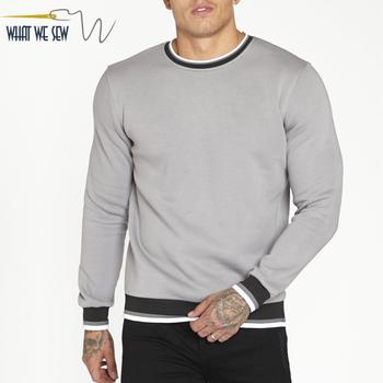 e3dc7048b Custom wholesale plain blank silver grey crewneck sweatshirt jumper men  with striped rib cuffs and hem