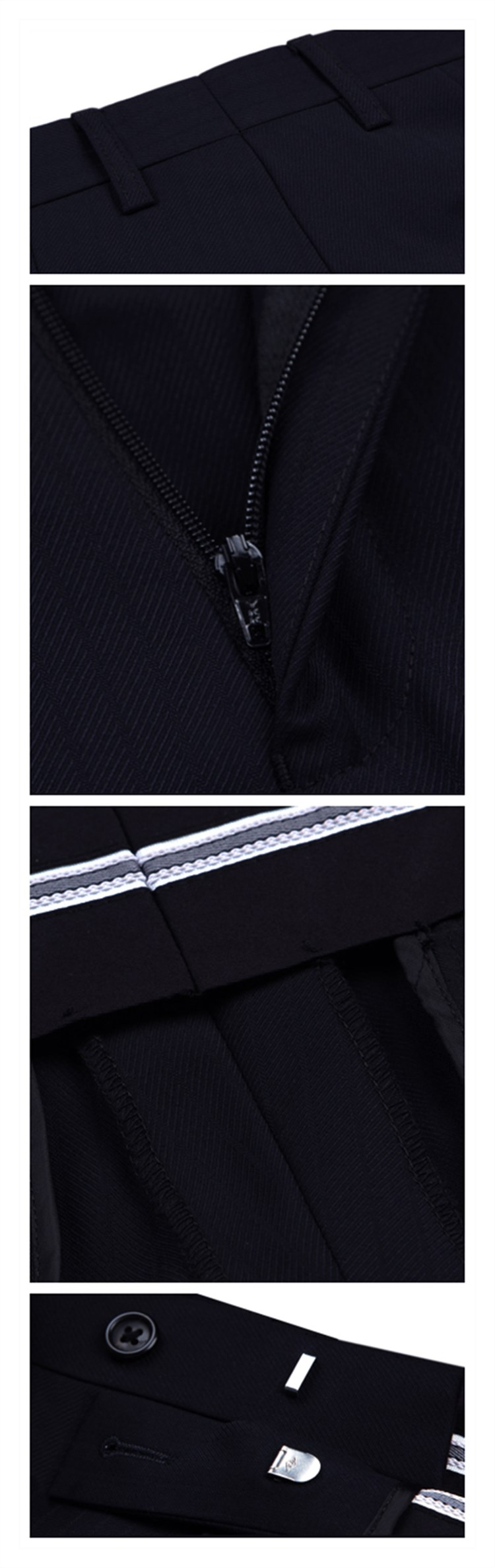 100% wool navy blue four buttons traditional chinese business suits for young men