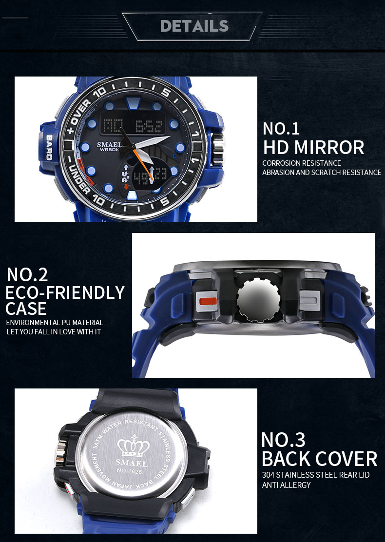 Smael men outdoor new style noctilucent omax digital watch