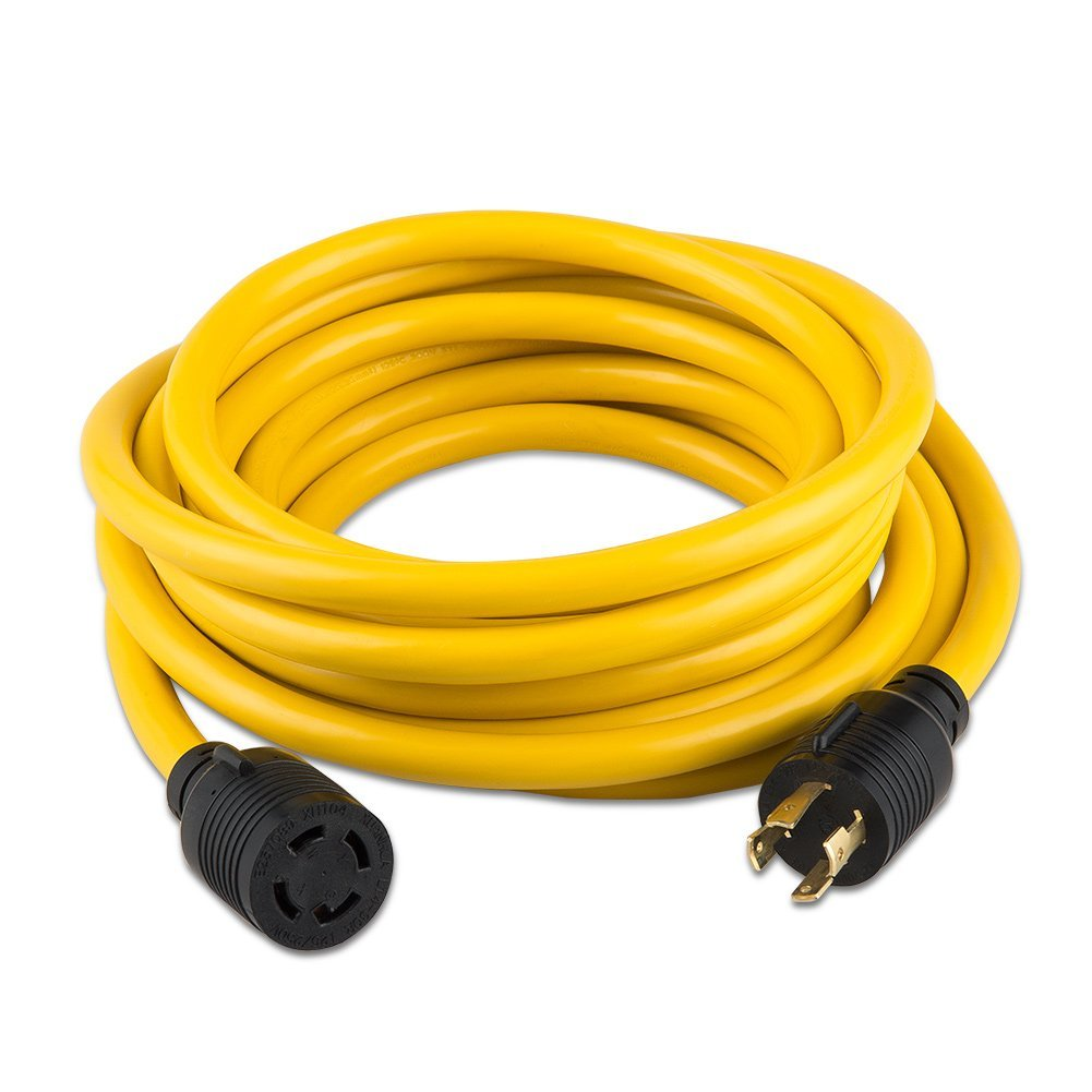 Buy Nema L14 30 Generator Extension Cord 15 Foot 30a 125 250v Wiring A L1430 Plug 50 Feet Heavy Duty Locking Power 30p 30r4 Prong 10 Gauge Sjtw Cable 30amp 7500 Watts Yellow Lock