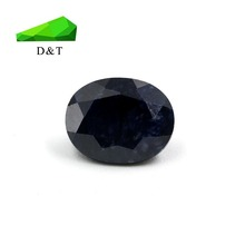 natural chinese supplier loose oval cut 8*10mm rough unheated black sapphire gemstone
