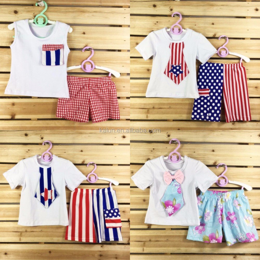 Yiwu Kalun Clothing Children's Summer July 4th patriotic boutique clothing Cheap Girls Summer Boutique Clothing