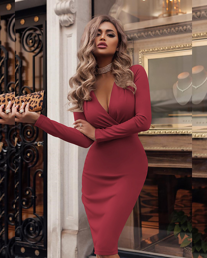 Alibaba.com / Women Sexy Deep V-neck Wrap Dress 2019 Spring Long Sleeve Solid Bodycon  Elegant Knee-Length casual dresses Party Dress