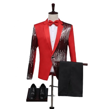 2019 New Arrival Sequin Red Prom Performance Stage Men 2 Pieces Suit