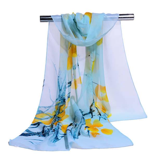 Promotional Custom Design Scarf Floral Pattern Scarf Chiffon Silk Scarf <strong>Manufacturing</strong>