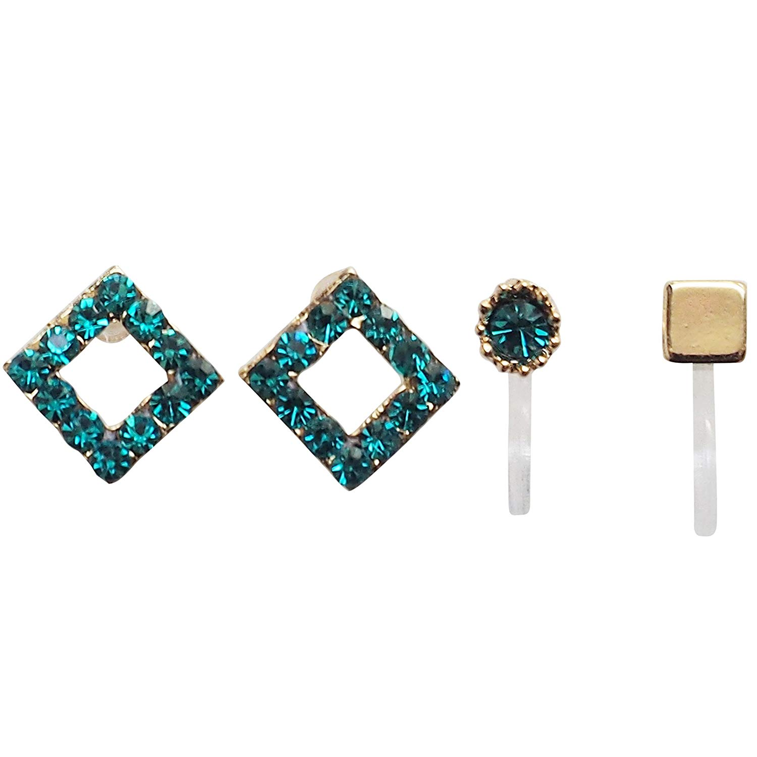 Miyabi Grace Women's Blue Square Rhinestone Crystal Invisible Clip On Super Lightweight Stud Earrings Gold tone