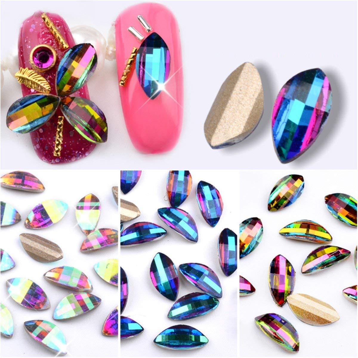 Mezerdoo 30Pcs Charm AB Crystal Leaf Nail Art Rhinestones DIY Symphony Petals Glitter 3d Nail Jewelry Accessories Manicure Decoration Arts (random color)
