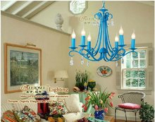 2012 newest distinctive iron candle lamp, light blue iron chandelier, concise chandelier light for home decoration