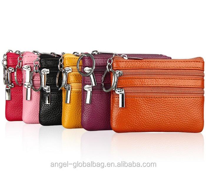 1 PC Mini monedero de cuero genuino bolso de las mujeres