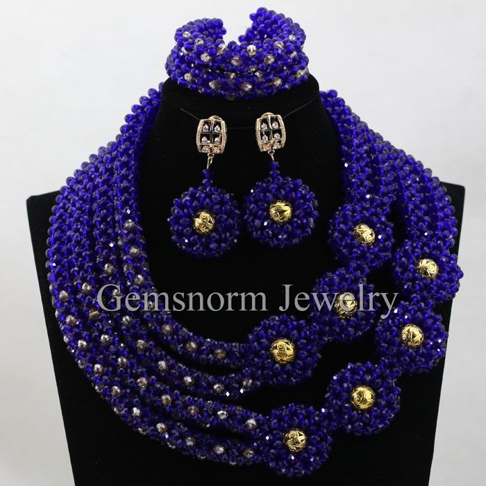 2016 wholesale fashion royal blue african crystal beads jewelry ...