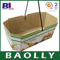 fruit and vegetable paper display box with black rope handle