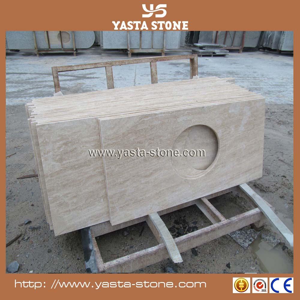 En gros solide surface beige travertin comptoir matériel pour ...