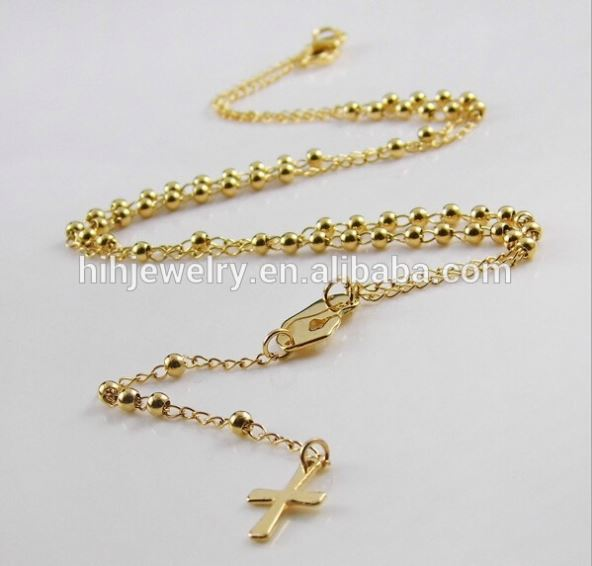 stainless steel cross Catholicism rosary necklace religion beads necklace designs