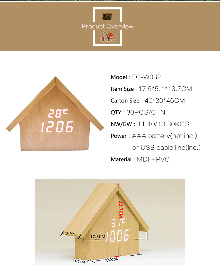 Europe style CE and RoHS standard house shape table clock LED display wood alarm clock with temperature and humidity