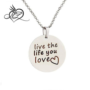 Stainless Steel Hand Stamped Inspiration Love Life Necklace