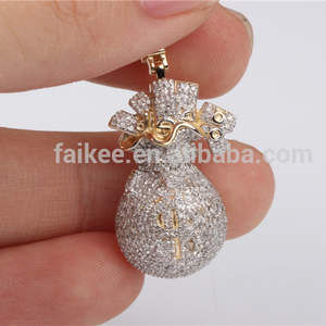 Hip hop 10 k gold micro setting real cheap diamond pendant jewelry