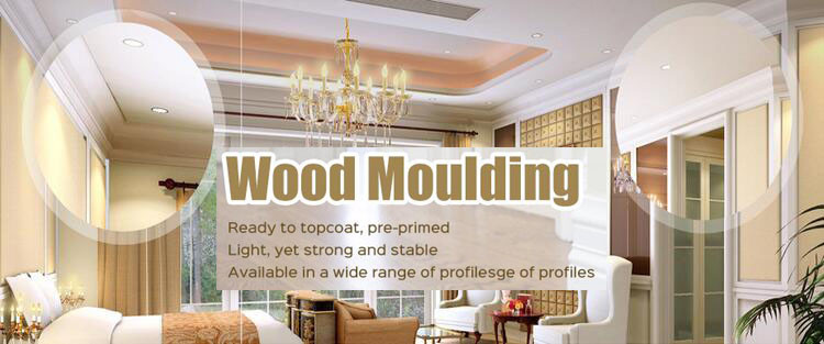 White Primer Coated Pine Wood Ceiling Crown Molding