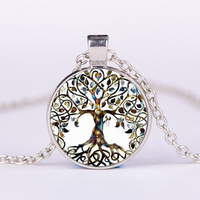 wholesale Mandala Om Pendant Necklace Women Vintage Sri Yantra Jewelry Glass Cabochon Silver Chain Statement Necklace punk