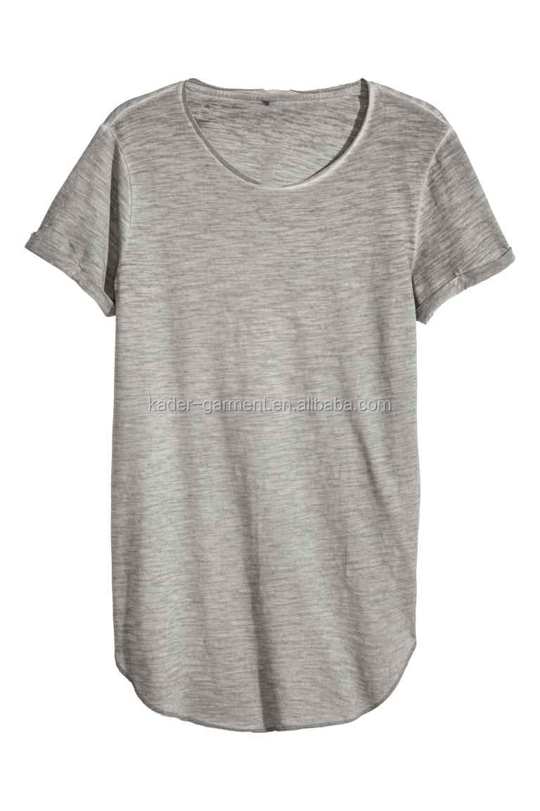 Cotton T Shirt Stone Washed T-shirts Longline Rounded Bottom Blank ...