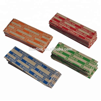 Flat Tubular Coin Wrappers, Color-Coded Kraft Paper, Assorted, 1000 Wrappers per Package