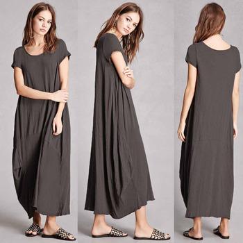 7069db199a9b Women Summer long cotton dresses Round Neck Short Sleeves Raw-cut Hem Maxi  T-