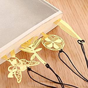 KOOTIPS 4 Pcs Different Cut model Ultra Thin Metal Brass Bookmark Value Pack