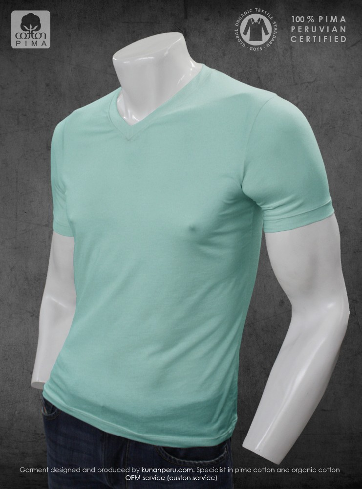 100% Organic eco friendly Peru pima cotton 100% certified V neck blank t-shirt