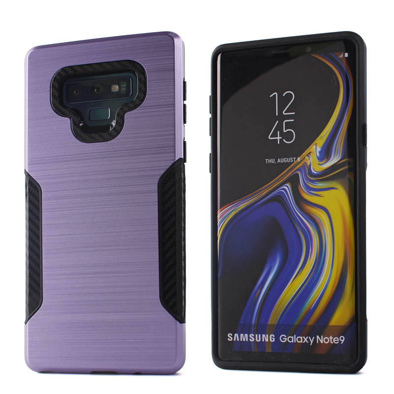 Shockproof dual layer pc tpu hybrid carbon fiber brush back cover case for samsung note 9 rugged case фото