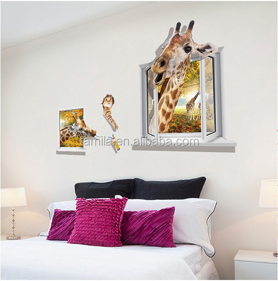 Kids cartoon 3D giraffe vinyl decal custom wall animals window sticker
