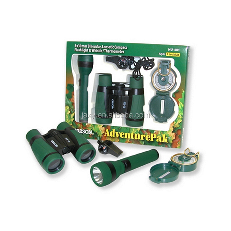 New kids binocular set /compass flashlight and whistle /magnifier toy binoculars for kids