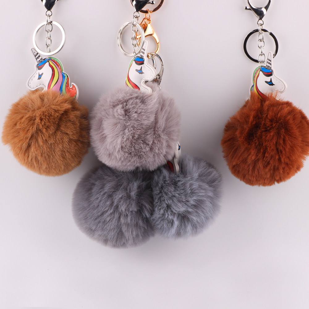 Qualified 1pc Pompom Fluffy Cartoon Flamingo Plush Keychain Handbag Car Keyring Women Key Buckle Key Chains Jewelry Artificial Faux Fur Sale Overall Discount 50-70% Jewelry & Accessories Jewelry Sets & More