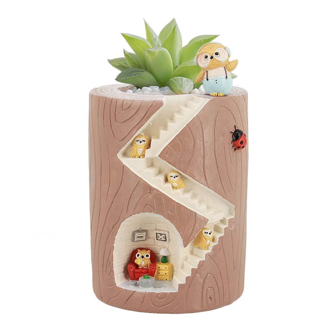 Segreto Creative Plants Pots Brush Pots for Succulent Plants Decorated Desk, Garden, Living Room with Sweet Owl