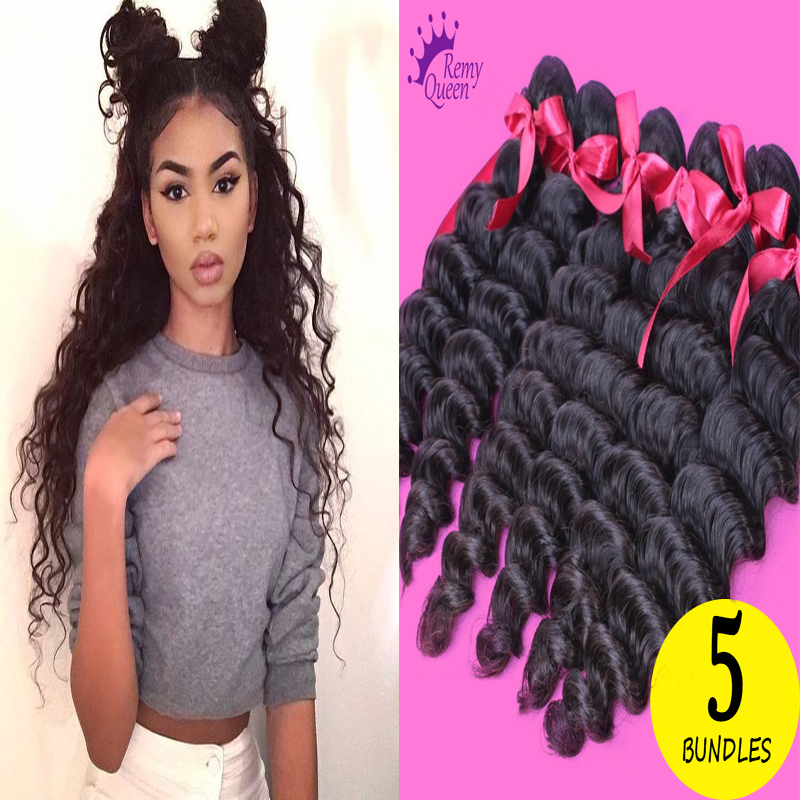 7A Brazilian Curly Virgin Hair Weave Brazilian Deep Wave 5 Bundles Remy Queen Hair Human Hair