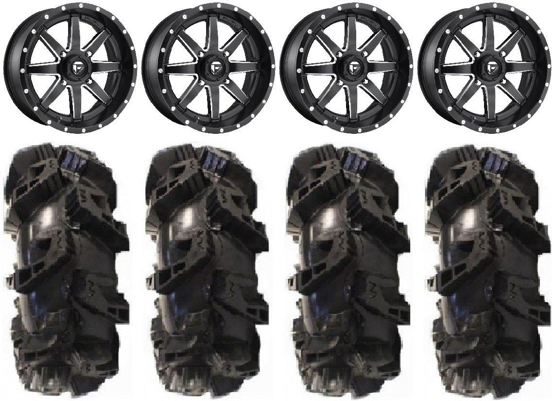 "Bundle - 9 Items: Fuel Maverick Black 18"" Wheels 36"" Silverback MT2 Tires [4x156 Bolt Pattern 12mmx1.5 Lug Kit]"