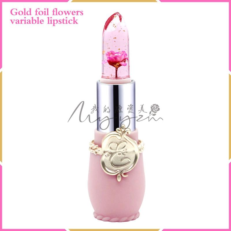 La flor de la hoja de oro de Color de lápiz labial cambiando de flor ...