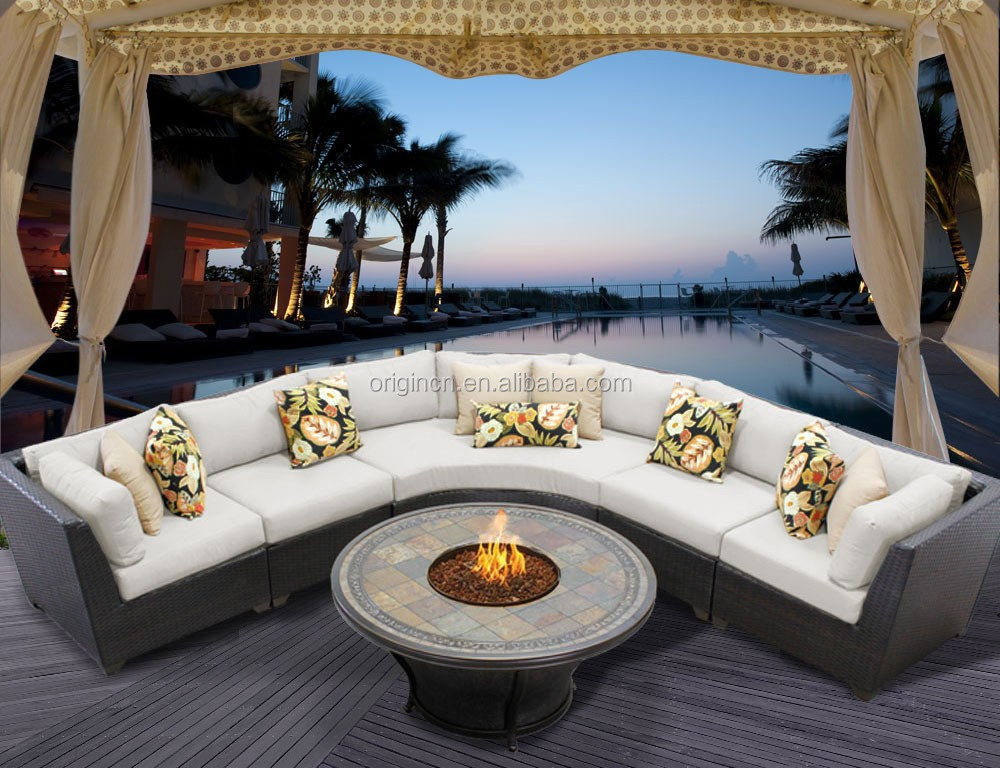 royal style patio garden party sectional wicker sofa with curved chair and outdoor gas fire pit