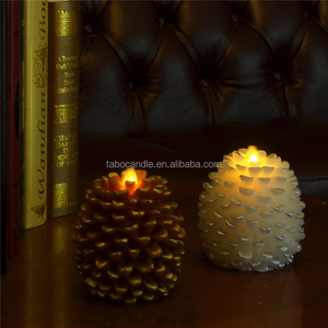 Christmas decorate real wax flameless led pine cone candles